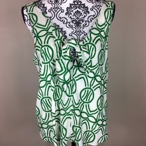 Maeve top sleeveless print green white small